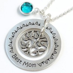 Silberkette Ornament mit Lasergravur Best Mom GONC27