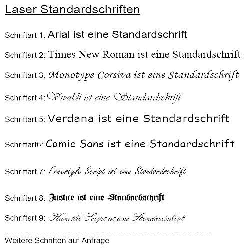 Lasergravur Schriftarten