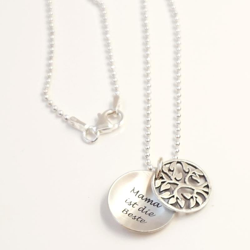 Silber anhänger  Silberanhänger mit Lebensbaum Silberkette und Lasergravur