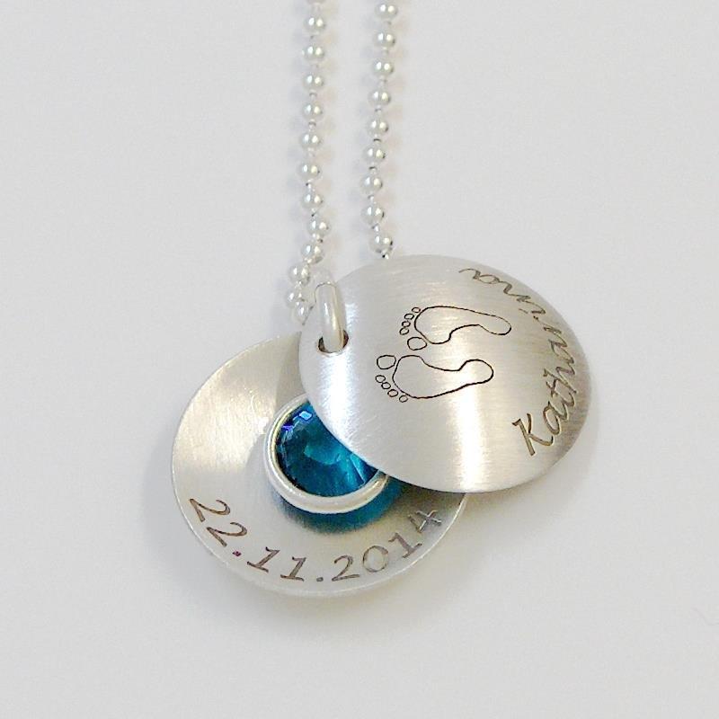 Medaillon silber  Taufkette mit Gravur Taufschmuck echt Silber GONA10
