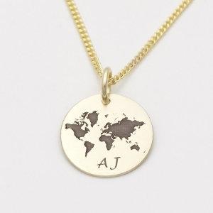 Echt Gold Kette Mit Gravur Weltkarte Globus Weltkugel Anhanger Gonc84
